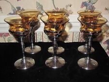 6 Farber Bros Krome Kraft Chrome Amber Cambridge Glass Goblets Art Deco  PITCHER