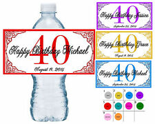 20 ~ 40th BIRTHDAY PARTY WATER BOTTLE LABELS ~ waterproof ink ~ assorted colors