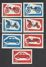 YUGOSLAVIA  Set of 7 different match box labels with pictures of old cars 1960s
