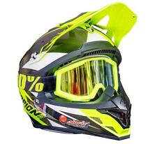 Scorpion EXO Krush Helm + verspiegelte MX Enduro Strata Neongelb Mirrored in M