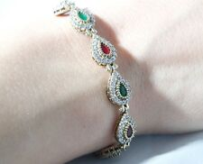 TURKISH HANDMADE RUBY EMERALD STERLING SILVER 925K BRACELET