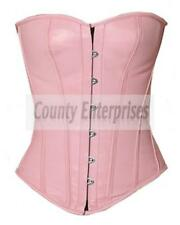 Full Steel Boned Victorian Overbust Bustier Gothic Pink Real Soft Leather Corset