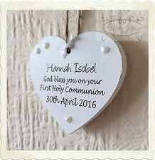 First Holy Communion Confirmation Personalised Heart Wooden Card Plaque w195