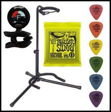 Electric Guitar Accesory Pack  Stand Ernie Ball Strings Snark Tuner Dunlop Picks