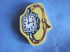 VINTAGE IN LEGNO up-cycled COPERTA SPILLA PIN Orologio Puzzle