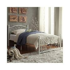 Twin Platform Bed Frame White Headboard Footboard Metal Vintage Cheap Furniture