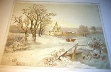 Antique Victorian Christmas Winter Landscape Holiday Goods Pharmacist Trade Card