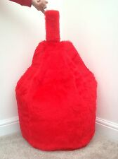FAUX FUR LARGE SIZE NEW LUXURIOUS CHILDRENS RED BEAN BAG / BEANIE COVER ONLY.