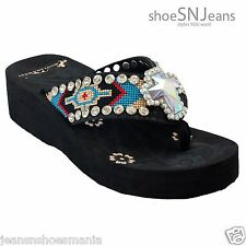 Montana West Wedge Flip Flop Rhinestone AB-S008 BLACK Size 6 Auction Shoes