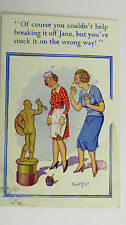1940s Donald McGill Risque Comic Postcard Nude Male Statue Parlour Maid Jane
