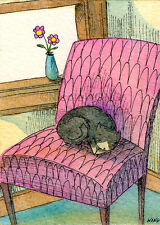 ACEO PRINT - Chair Nap - cat, pets, flower vase, whimsical, cute, animals, art