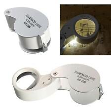 LOUPE de poche pliable LED lampe Pr Horloger Bijoutier Timbre Antiquités 40X25mm