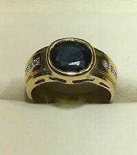 0.80Ct Natural Blue Saphire,Diamond Ring18k Yellow Gold GIA Gemologist Appraisal