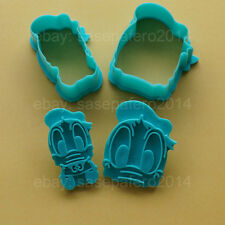 Disney Donald Duck cookie cutter with stamp 4 pcs. set. Cortadores Pato Donald
