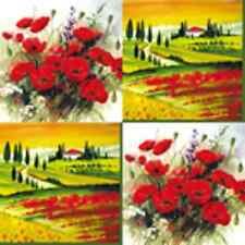 4 x Paper Table Napkins/ Decoupage/Dining/ Vintage/ Poppies/ Tuscany