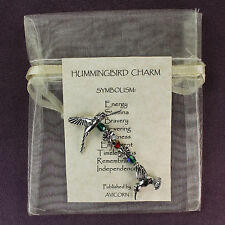 3D SILVER HUMMINGBIRD CHARM Totem Symbol Amulet Talisman Attraction Bird Flower
