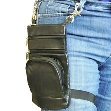 Texcyngoods LEATHER Belt HIP Waist Bag with Thigh Strap Cross Body Purse