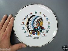 CHIEF RUNNING WATER COLLECTOR PLATE PORCELAIN AMERICAN INDIAN SYMBOLS SIGNS VTG