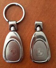 Set of 2 BMW Car Teardrop Metal Key Chainring Tag Key FOB LOGO Lanyard Keychain