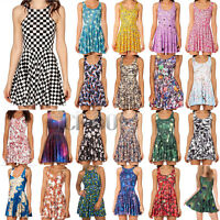 3D Graphic Printed Summer Casual Sleeveless Dress Skater Two-Way Singlet Dress