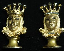 Antique Crown TRIFARI King and Queen Figural Rhinestone Shoulder brooches