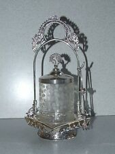 ANTIQUE PRESSED GLASS FANCY FROSTED FOOTED PICKLE CASTOR SILVERPLATE FRAME