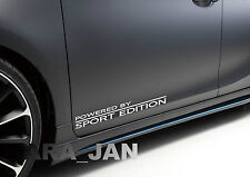 2 -  POWERED BY SPORT EDITION Vinyl skirt racing Decal door logo sticker WHITE