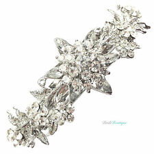 Bridal Wedding Vintage Style Crystal Flower Silver Barrette Hair Clip Grip CL13