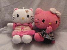 """LOT OF 2  Pink Hello Kitty by Sanrio and White Titicos  big head in Dress 10""""(M)"""