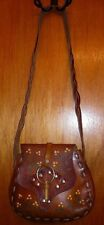 VTG Handmade & Hand Painted Tooled Brown Leather Bag Boho Hippie Bohemian