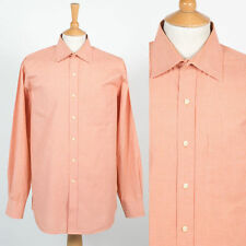 TOMMY HILFIGER MENS SHIRT ORANGE FINE GINGHAM CHECK PATTERN SMART STYLE SUIT XL