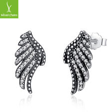 Authentic 925 Sterling Silver Majestic Feather Phoenix-Wing Stud Earring Jewelry
