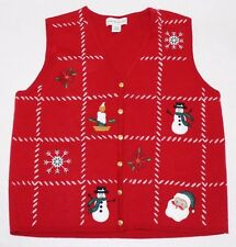 UGLY CHRISTMAS SWEATER VEST Women XL Red Acrylic Brass Button Patchwork Candle