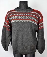 HANDMADE Sweater Norwegian Pattern Norway WOOL Medium Jumper Nordic Fisherman M