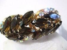 CLAMPER BRACELET BROWN NAVETTE ROUND AB RHINESTONES JULIANA PRONG SET BEAUTY