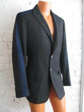 VERSACE Jeans Couture Black Wool Jacket Sport Coat 38R Blue Velvet