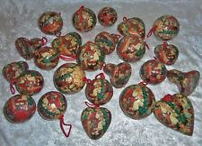 Lot 24 Decoupage Victorian Style Christmas Ornaments Paper Mache Old World Santa
