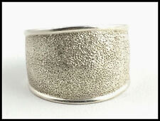 VINTAGE .925 Sterling Silver - Textured Wide Band Ring - Size 7.5