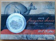 2014 AUSTRALIA KANGAROO SERIES 1 OZ 99.9% $1 SILVER UNCIRULATED COIN ON CARD