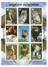 ANIMALS OF THE WORLD WILD BIRD OWL EAGLE GUINEE 1998 MNH STAMP SHEETLET