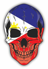 "Skull Flag Philippines Car Bumper Sticker 4"" x 5"""