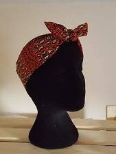 red orange leopard African Wax Print Headscarf Bandana Head wrap hair turban