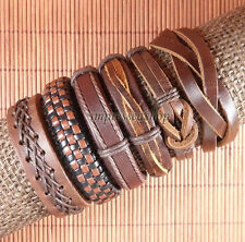6 pcs Handmade Genuine Braided Wholesale Leather Bracelet for Men and Women-L101