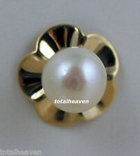 14K Yellow Gold AAA WHITE Pearl Stud Earrings Screw Backs for Babies & Children