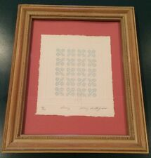 "MARY RUTHERFORD 1985 Quilt Embossed Print 6"" x 7"" Matted Framed 58/950, Signed"