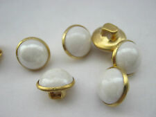 """10 Shank Pearl Buttons 10mm (3/8"""") Metal Shank Faux Pearl Mushroom Sewing Button"""