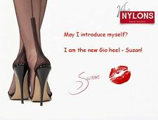 Garter Nylons stockings Black size 11, Fully Fashioned new Heel SUSAN Gio