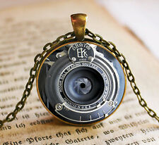 Vintage Camera Lens Cabochon Bronze Glass Chain Pendant Necklace bt14