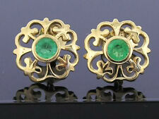E076 Genuine 9ct Solid Yellow Gold NATURAL Emerald Fleur-de-Lis Stud Earrings