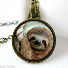 Retro Style Handmade Glass Dome Necklace, Baby Sloth, C-234